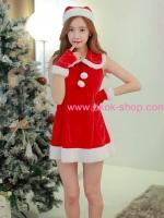ชุดคริสมาสต์ผู้หญิงสไตล์เกาหลีสีแดง